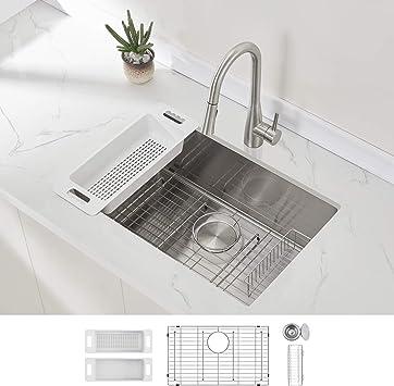 Modena Undermount Kitchen Sink Set 16 Gauge Stainless Steel 28 Inch Single Bowl Amazon Com