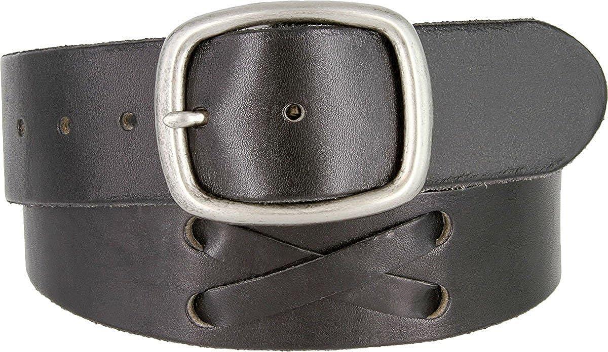 Hagora Men 44 mm Wide Full Grain Genuine Leather X Inlay Brass Buckle Belt