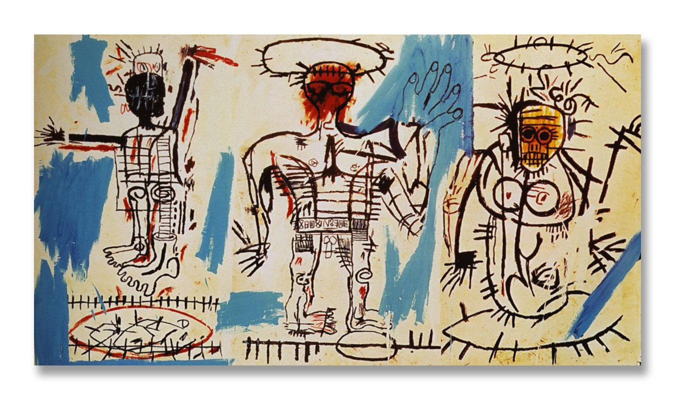 Jean-Michel Basquiat Original Graffiti Art Baby Boom 1982 Canvas Paintings Hand Painted Reproduction Unframed Tablet - 48X28 inch (122X71 cm) for Living Room Wall Decor To DIY Frame