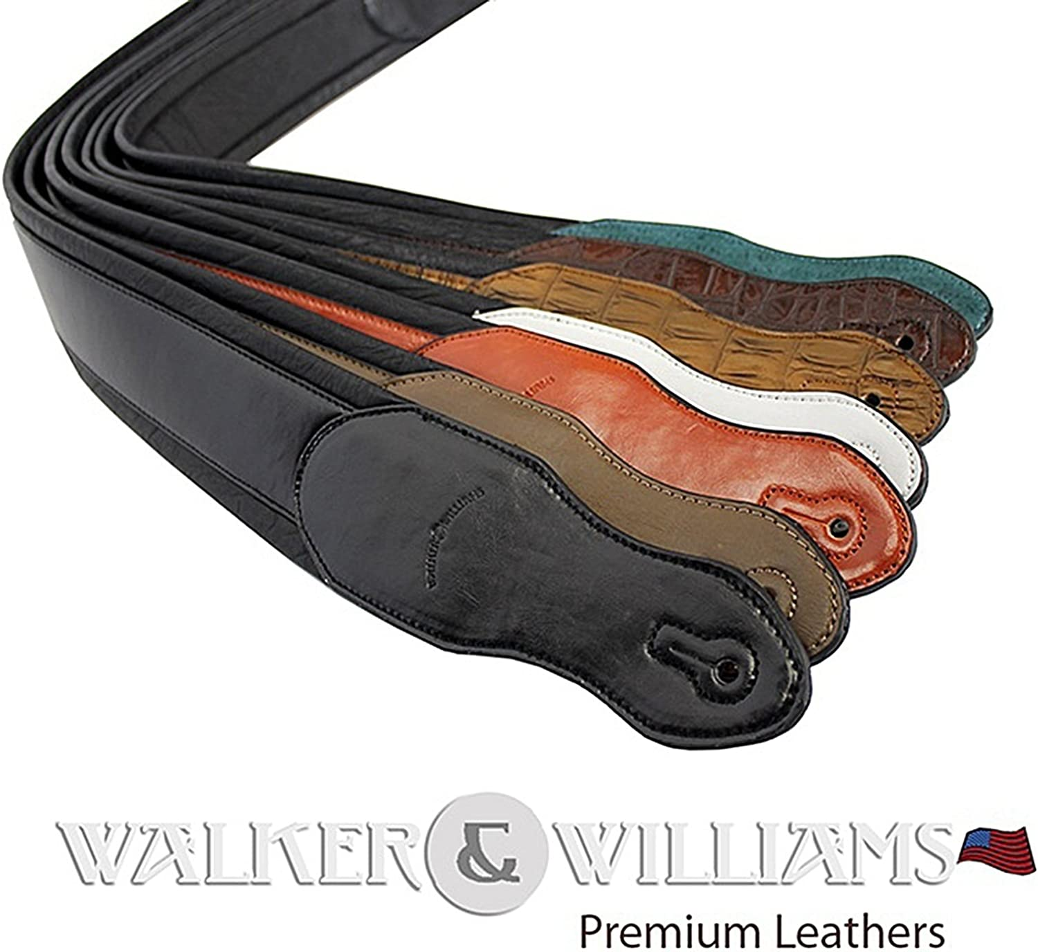 Walker /& Williams Black /& White Top Grain Leather Guitar Strap with Chrome and Brass Metal Studs