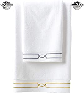 pharaohs cottons Luxury White Bath Towels-100% Long Staple Premium Egyptian Cotton-Highly Absorbent, Fade and Lint Resistant Hotel & SPA Bathroom Towels-Set of 2-Made in Egypt