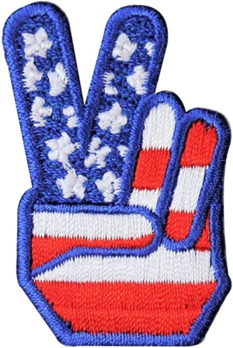 """3 1//4/"""" US American Flag Peace Sign Embroidery patch"""
