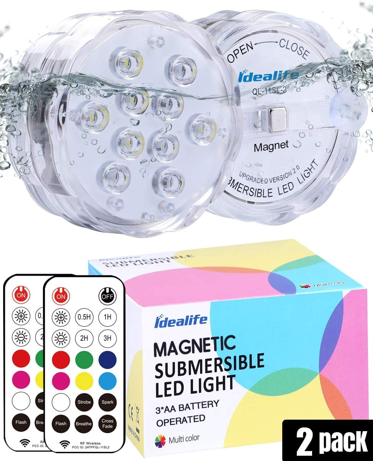 Idealife Submersible LED Lights, Swimming Pool Lights for Inground Pool with RF Remote Suction Cups Magnet AA Battery Light Waterproof for Hot Tub Above Ground Pool Fountain Bathtub Garden Décor 2pack