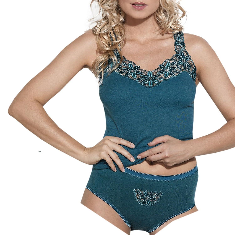 Ott-tricot Damen Set Trägerhemd + Taillenslip 100% BW mit Spitze Gr.38 bis Gr.54 Unterwäsche