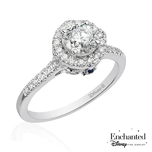 Enchanted Disney Cinderella Diamond And Created Blue Sapphire Engagement  Ring 1ctw   Size 7