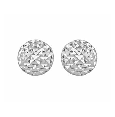 d6b9d39de Carissima Gold 9 ct White Gold Diamond Cut Pyramid Button Stud Earrings:  Amazon.co.uk: Jewellery