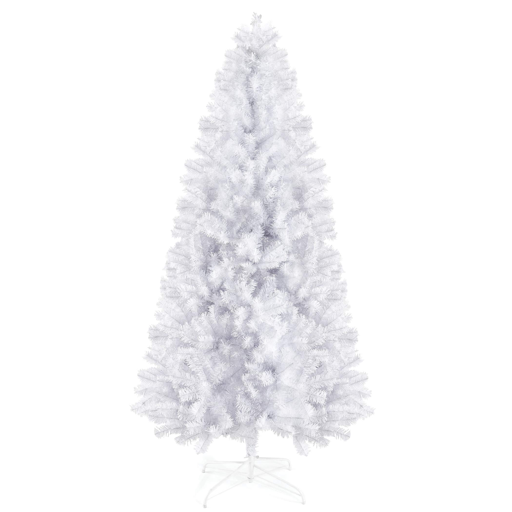 Prextex 6 Feet White Christmas Tree - Premium Artificial Spruce Hinged Snowy Solid White Christmas Tree Lightweight and Easy to Assemble with Christmas Tree Metal Stand 1200 Tips