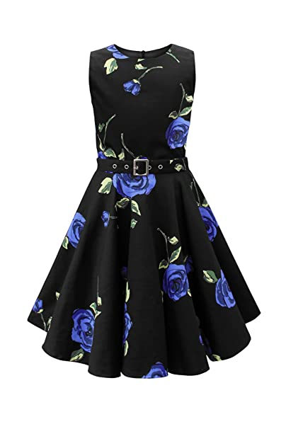 BlackButterfly Niñas Audrey Vestido Vintage Años 50 Infinity (Grandes Rosas Azules, 11