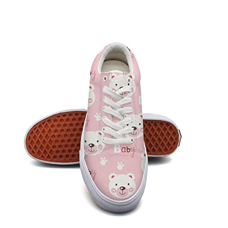 df700c2822 Image Unavailable. Image not available for. Color: Girls Pink Bear Baby  Decor Canvas Shoes Casual Breathable Lace-up ...