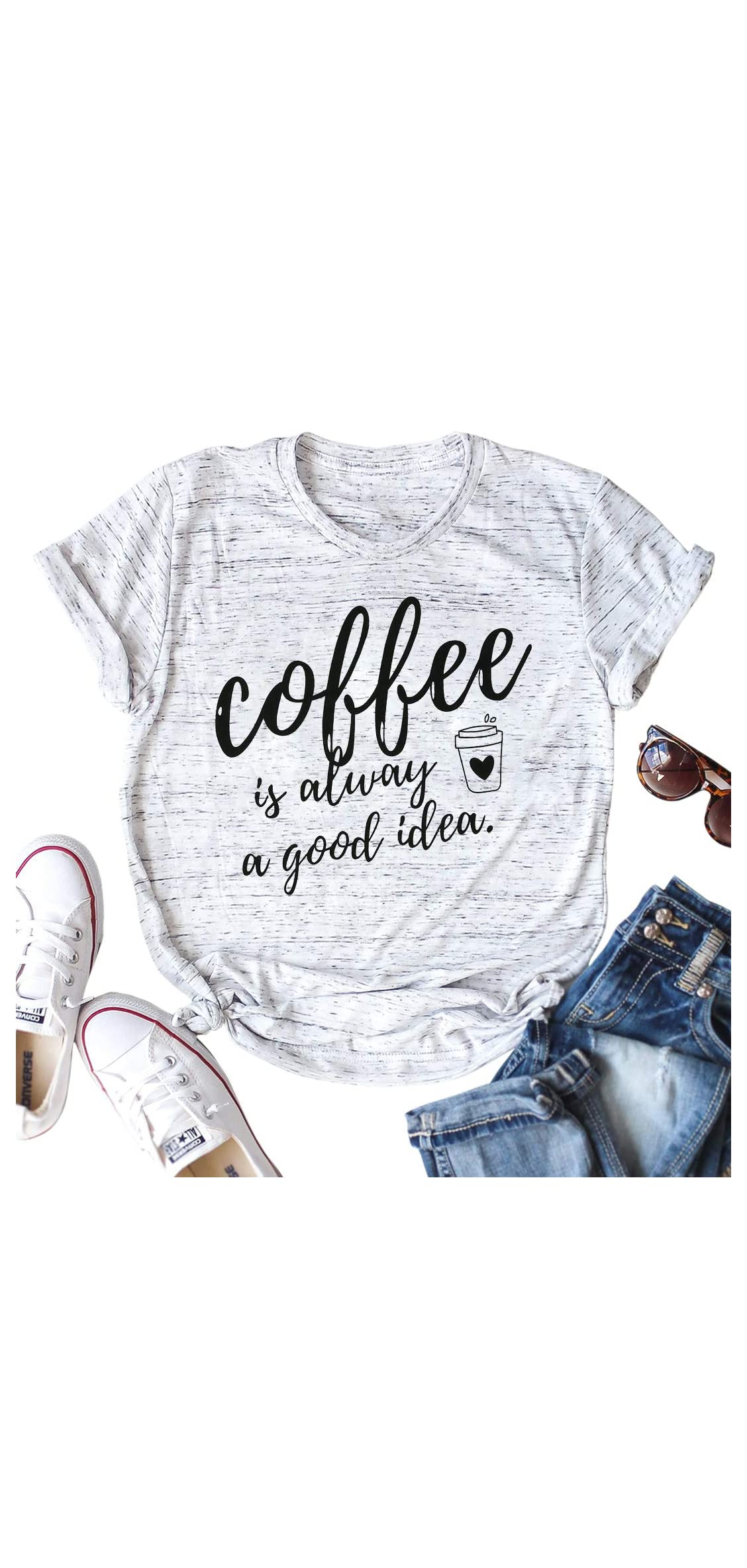 Coffee Is Always A Good Idea Letter Print Shirt For Women