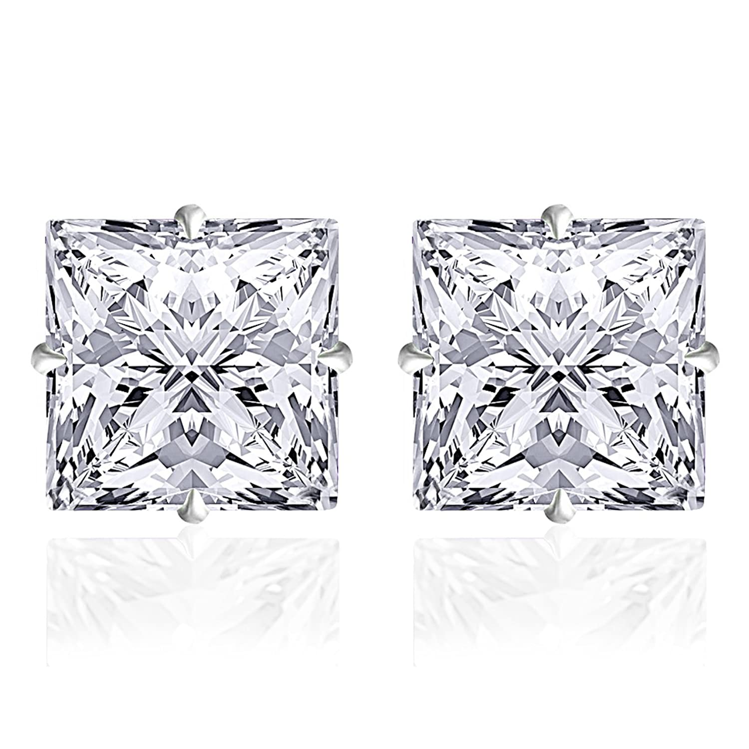 14k Solid White Gold 4mm Princess-Cut White CZ Stud Earrings by Orchid Jewelry