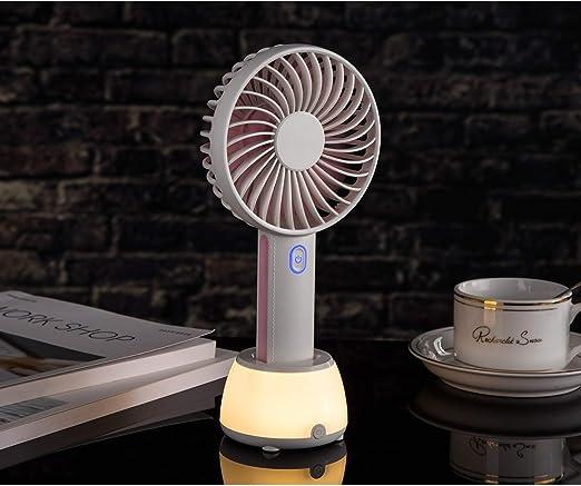 XIAOFENG-R Mini Ventilador Redondo portátil USB Luz Ambiental de ...