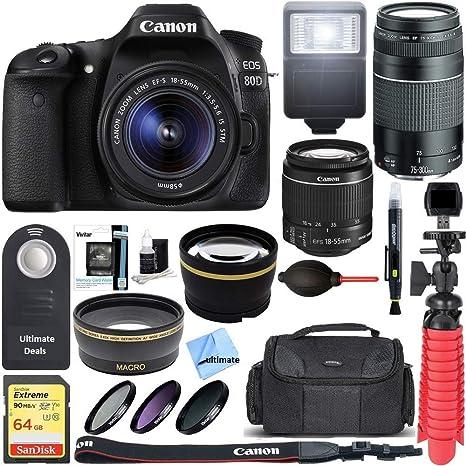 Canon EOS 80D CMOS DSLR cámara + EF-S 18-55 mm IS STM & 75-
