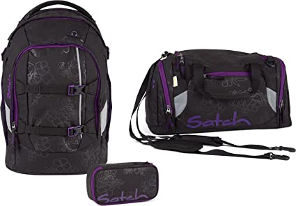 f46d732b7eed2 Satch Schulrucksack-Set 3-TLG Pack Purple Hibiscus Schwarz  Amazon ...