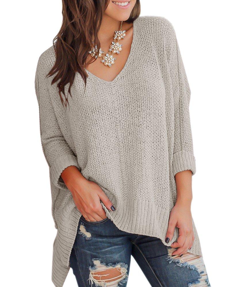 Niitawm Womens Casual V Neck Loose Knit Sweaters Asymmetrical hem Oversized Sweater Pullover Tops (XXL,Grey)