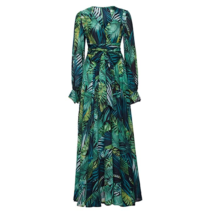 SODIAL Vestido de Manga Larga Vestido Vestidos Vintage Impresion Tropical Verde Boho Casual V Cuello Cinturon