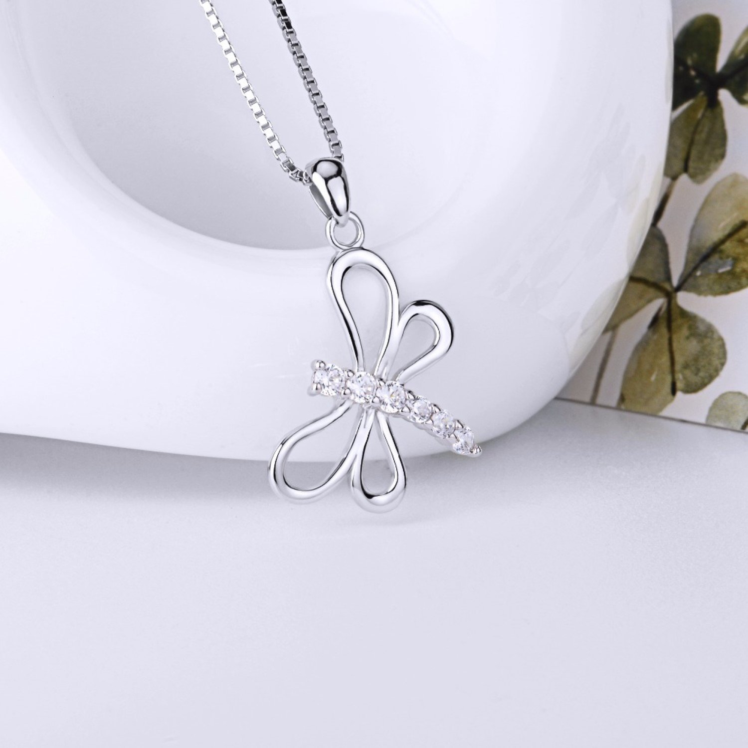 CS-DB CZ Crystal Dragonfly Top Stylish Silver Necklaces Pendants