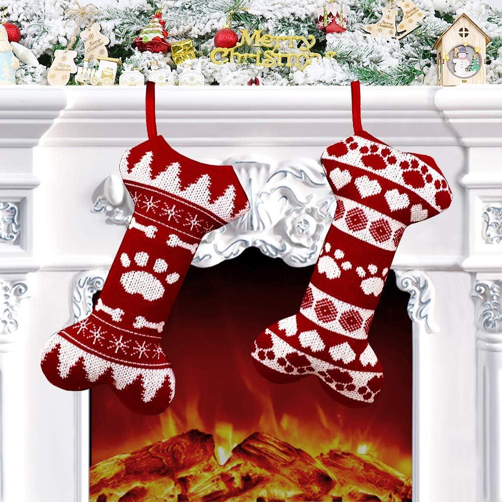 Charlemain Christmas Stockings For Dogs Set Of 2 18 Large Knitted Dog Christmas Stockings For Pets Xmas Sock Sack Gift Bag Holiday Decoration Christmas Ornament Candy Pouch Bag Theme Bone Shape Amazon Co Uk