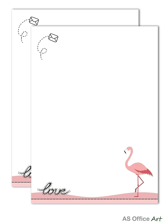 Schreibblock 2er Set'FLAMINGO' DIN A5 Block 50 Blatt geleimt fü r Mä dchen und Frauen AS Office Art