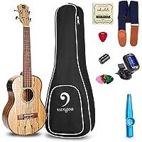 Ukulele Concert Electric Ukulele Spalted Maple Wood Solid 23 inch Best Hawaii Acoustic Ukelele Beginners Starter Kit, by Vangoa