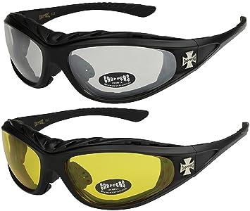 2er Pack Choppers 911 Sonnenbrillen Motorradbrille Sportbrille Radbrille - 1x Modell 07 (anthrazit / schwarz getönt) und 1x Modell 07 (anthrazit / schwarz getönt) - Modell 07 + 07 - hL0jz
