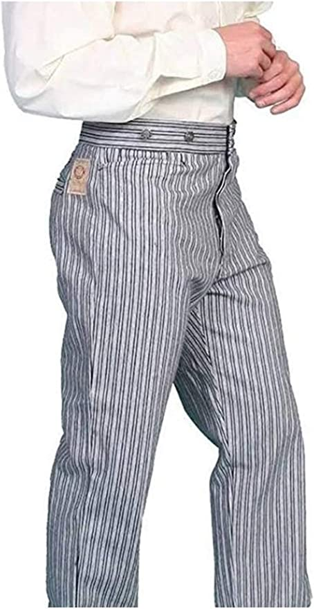 Victorian Men's Clothing, Fashion – 1840 to 1890s Railhead Stripe Pants Scully Wahmaker Mens Wahmaker Railhead Stripe Pants - 592402 Tau $84.00 AT vintagedancer.com