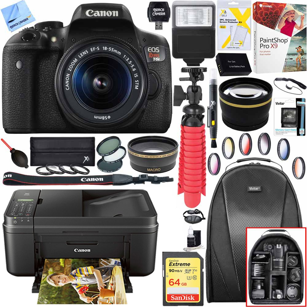 Canon Eos Rebel T6i Digital Slr Camera With Ef S 18 55mm Is Stm Lens And Canon Pixma Mg3620 Wireless Inkjet All In One Multifunction Photo Printer 64 Gb Accessory Bundle by Canon
