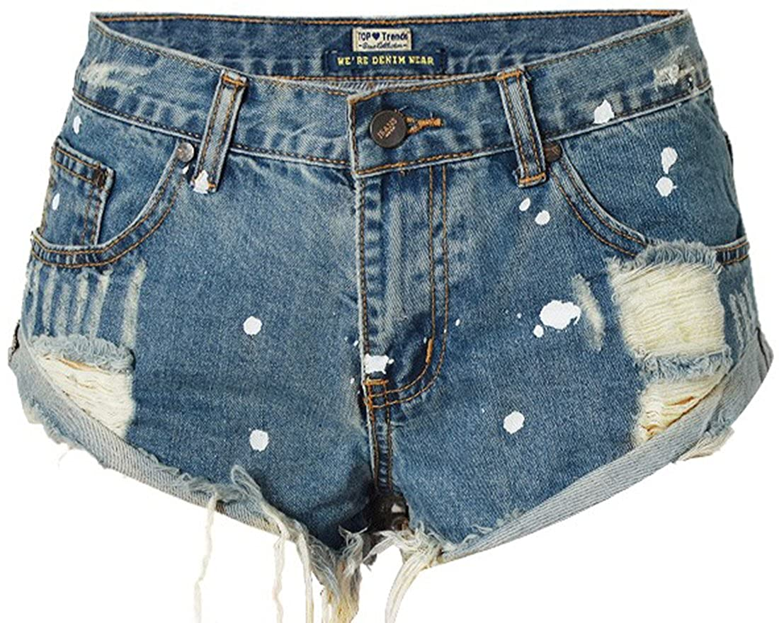 WITZROYS Women's Short Denim Shorts Cute Mid Waist Destroyed Ripped Hole Washed Denim Shorts WTZ-016