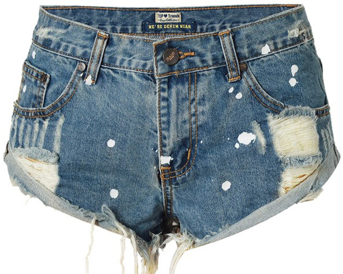 WITZROYS Women's Short Denim Shorts Cute Mid Waist Destroyed Ripped Hole Washed Denim Shorts (080 Blue, 40 (33''))