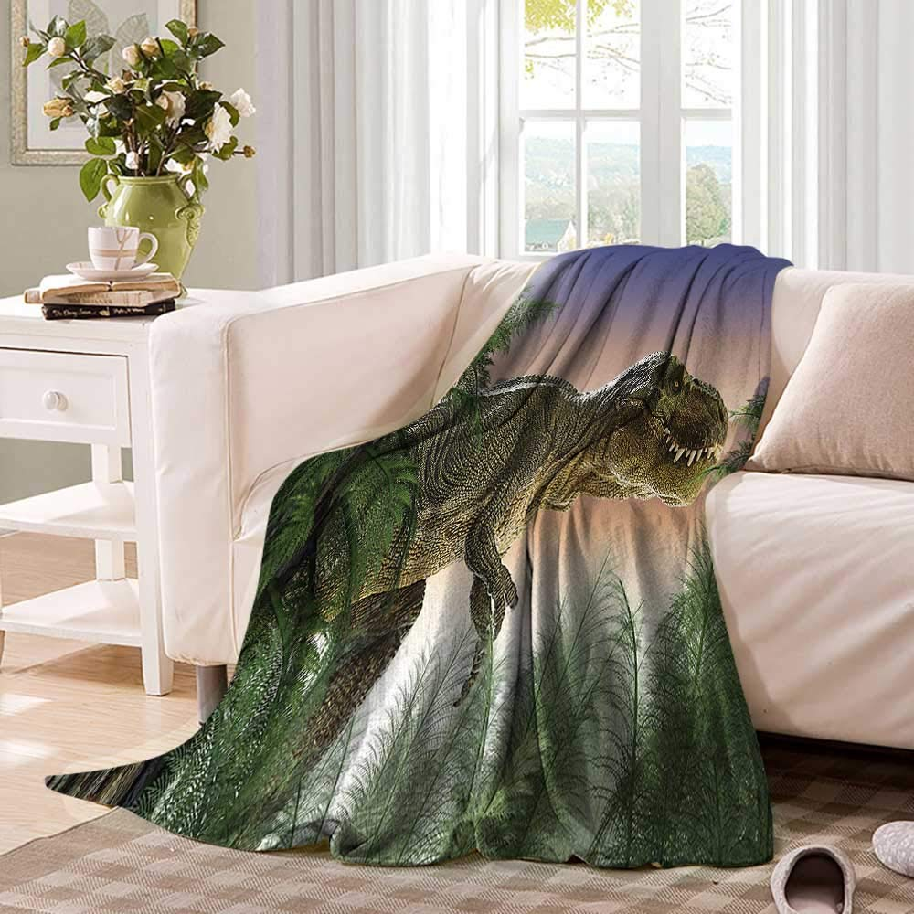 Anhuthree Jurassic Super Soft Lightweight Blanket Dinosaur in The Jungle Trees Forest Nature Woods Scary Predator Violence Summer Quilt Comforter 60''x50'' Green Blue Peach by Anhuthree (Image #2)