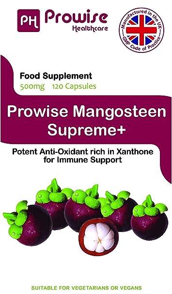 Prowise Pure Mangosteen 500mg 120 capsulas - Superfood Suplemento antioxidante para la salud para apoyar el sistema inmunológico y promover el cabello ...