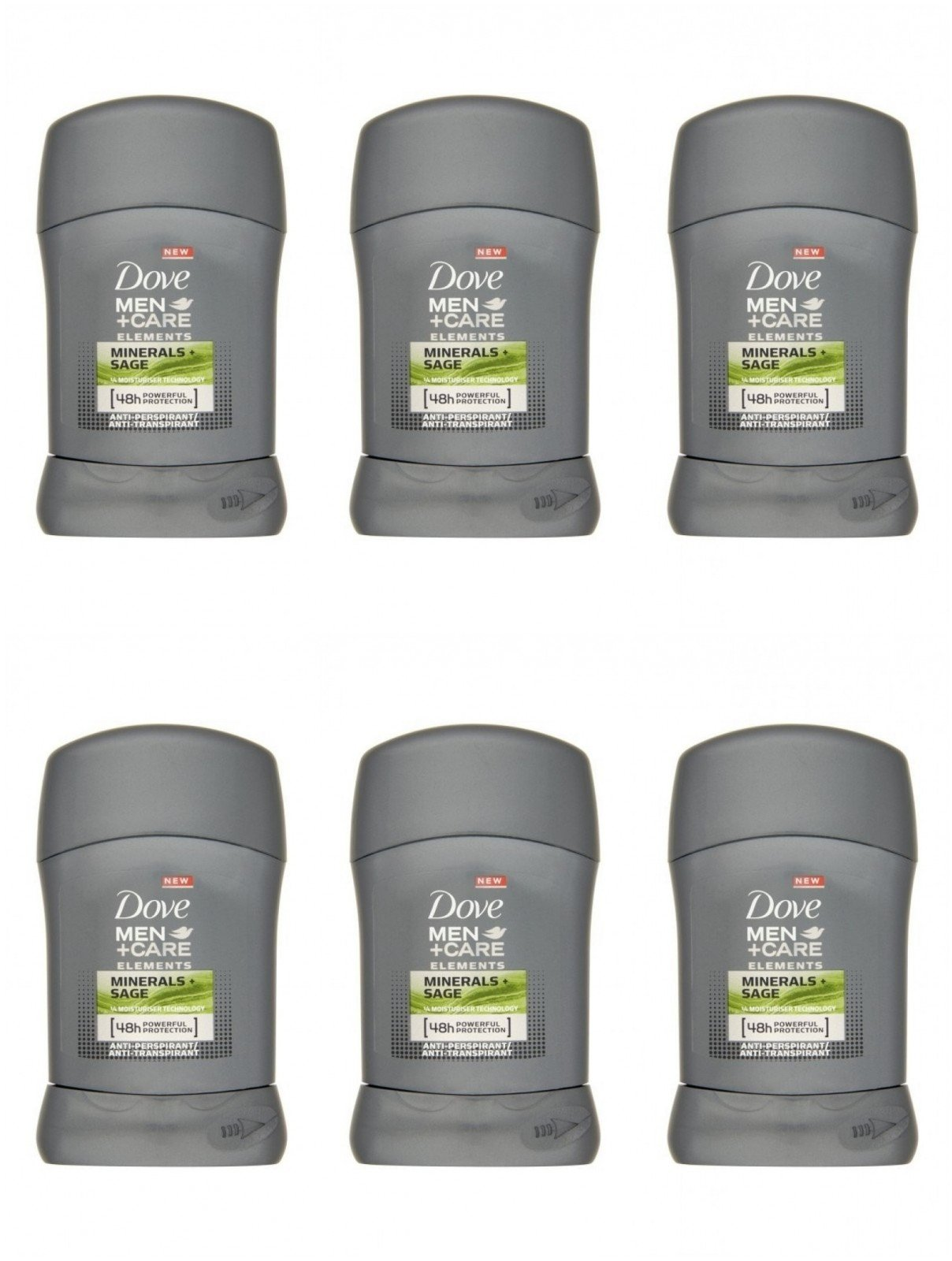 Dove Men's Deodorant Stick Minerals And Sage 1.69 Oz Travel Size (Pack of 6)
