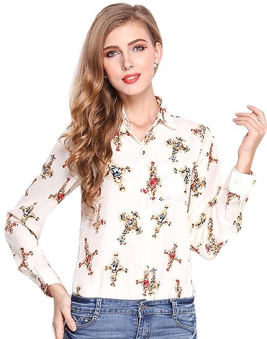 Fashion Manga Larga Bolsillos Botones Abotonada Abotonado Delantera Cruzada Impresión Patrón Chifón Blouse Blusón Blusa Shirt