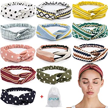 Womens Metallic Color Wide Striped Headbands Summer Knotted Turban Knitted Headband Wrap Bow Hairband
