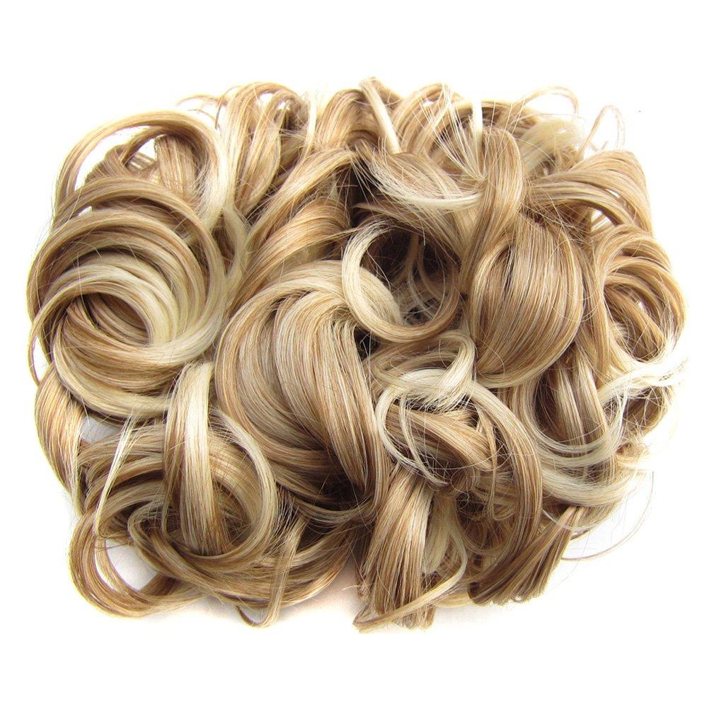 PIXNOR - Pelo corto, rizado, moño, extensiones de pelo, peines, clip de extensión para coleta. S Color 3 moño
