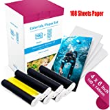 """Compatible Canon KP-108IN KP108 3 Color Ink Cartridges and 108 Sheets Paper Set, 6""""(100 x148mm) for Canon Selphy CP1300, CP1200, CP910, CP900, CP760, CP770, CP780, CP800 Wireless Compact Photo Printer"""