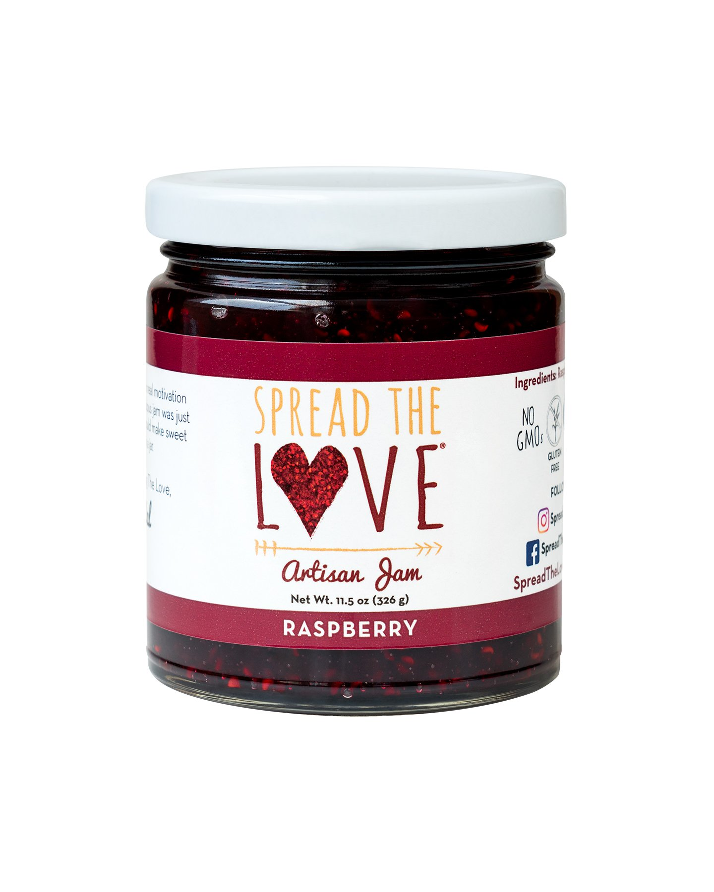 Spread The Love Artisan Jam, Raspberry (All Natural, Vegan, Gluten-free, No added salt, No pectin) by Spread The Love