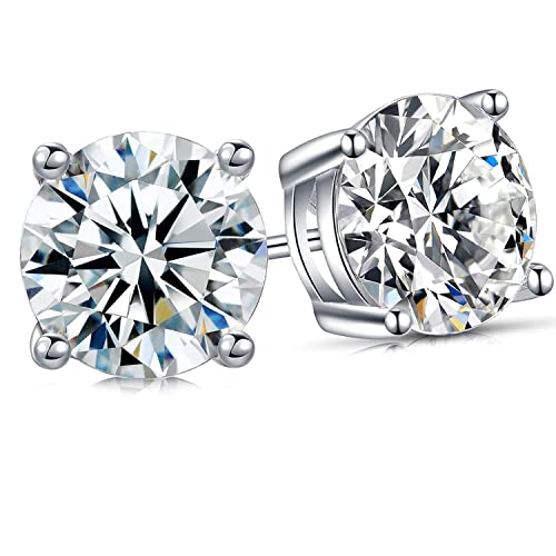 5640d57c8 DESIMTION Sterling Silver Cubic Zirconia Stud Earrings for Women Mens  Girls, 1.0 ctw Brilliant Swarovski