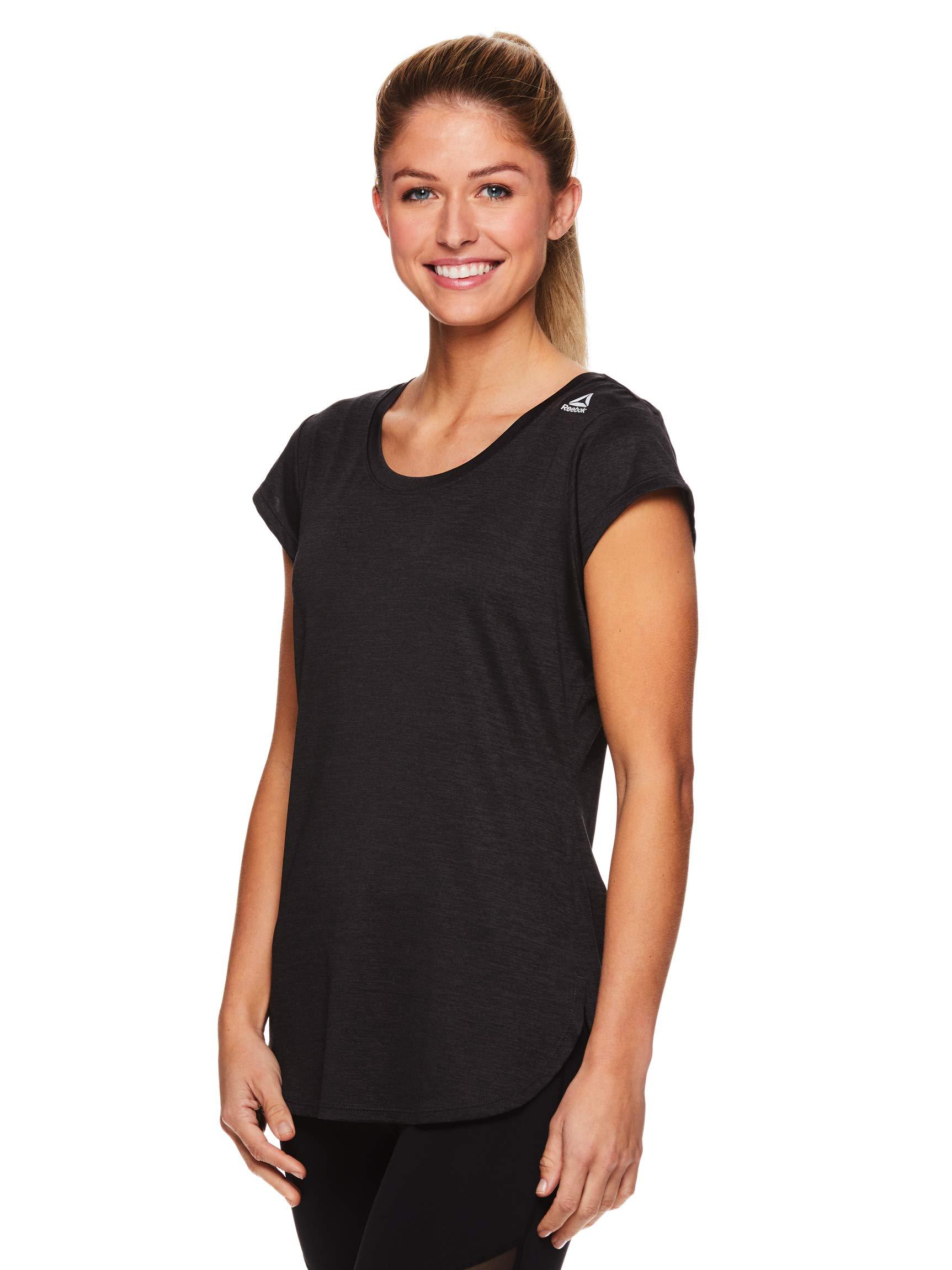 Reebok Women's Legend Performance Short Sleeve T-Shirt with Polyspan Fabric Black Dark Heather