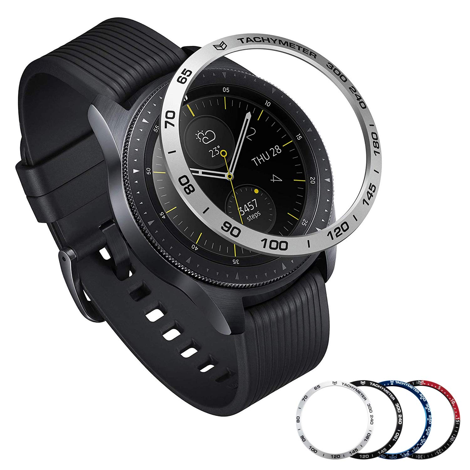 [Aluminum] Galaxy Watch 46mm Bezel Styling, Galaxy Gear S3 Frontier & Classic Bezel Ring Adhesive Cover Anti Scratch Aluminium Protection Tachymeter, Design for The Galaxy Watch Accessories - Silver by Yawenner