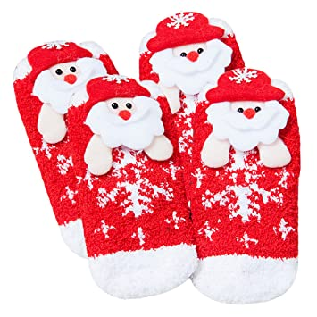 Fascigirl Calcetines de Navidad, Calcetines Calientes de 2 Pares Calcetines de Dibujos Animados de Santa Christmas Tree de Elk para Adultos y Bebés: ...