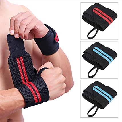 Weight Lifting Wrist//Strength Wraps Bandage Hand Support Gym Straps A Pair