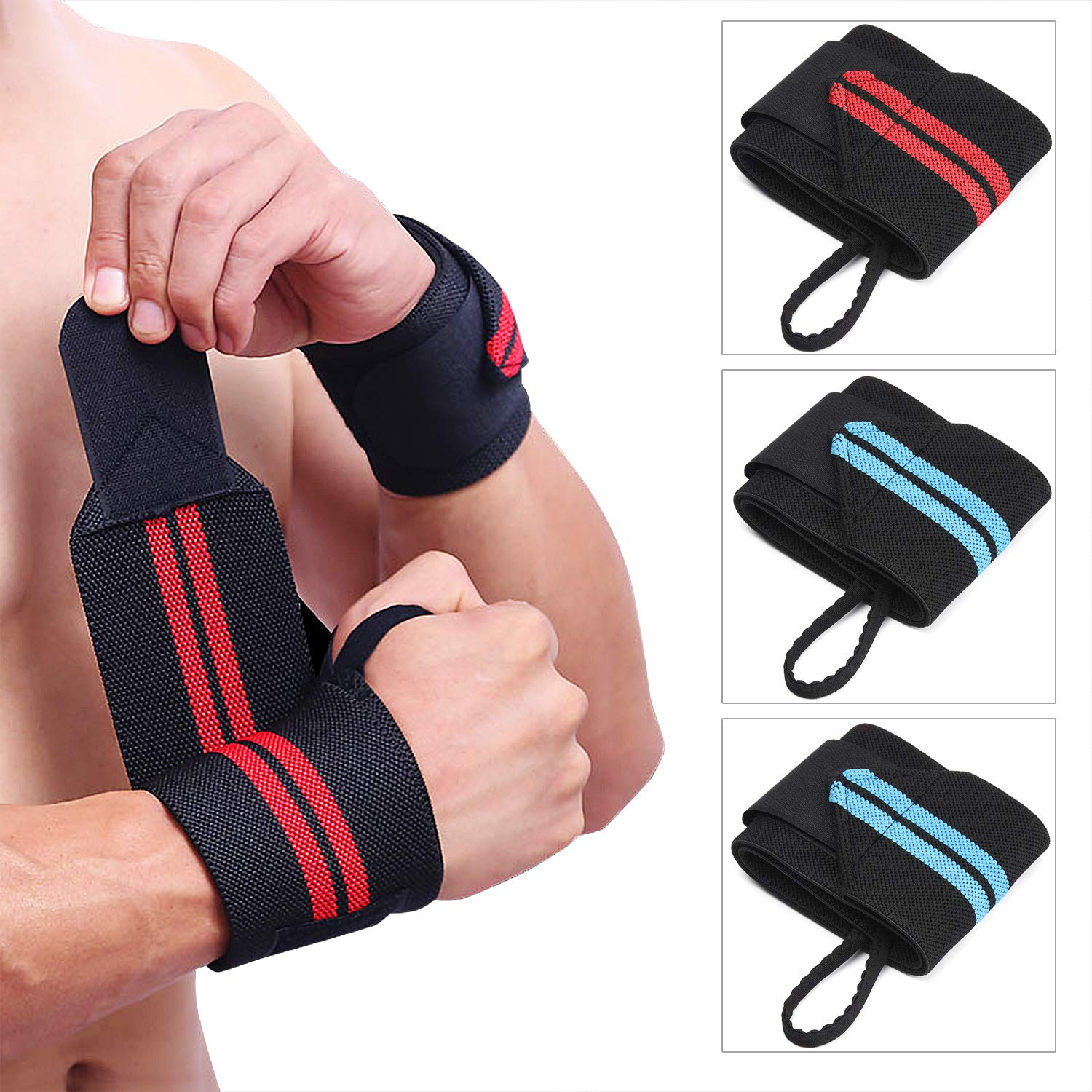 TOBWOLF Lifting Wrist Wraps, Professional 18'' Men Weightlifting Strap with Thumb Loop, Adjustable Carpal Tunnel Wrist Support Braces for Gym, Workout, Powerlifting 2 Pairs