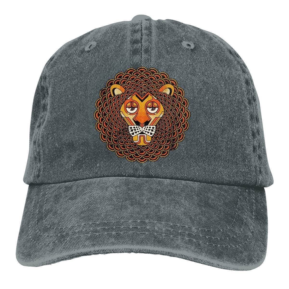 Yuan Kun Deco Lion-01 Unisex Washed Adjustable Fashion Cowboy Hat Denim Baseball Caps