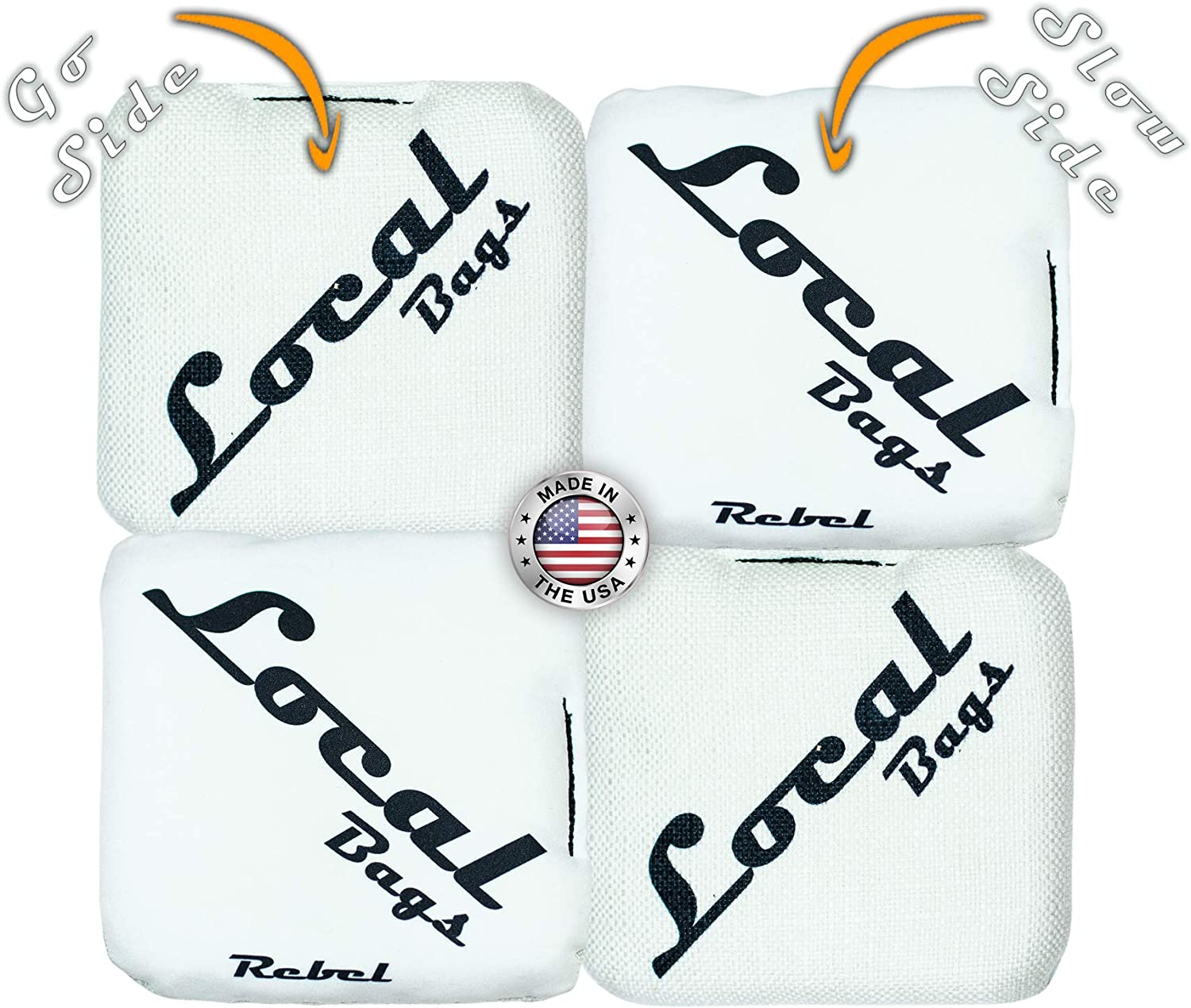 Local Bags Cornhole Rebel Series Medium Stick Side//Slick Side Made in USA Set of 4 Bags- ACL Approved Resin Filled Double Sided