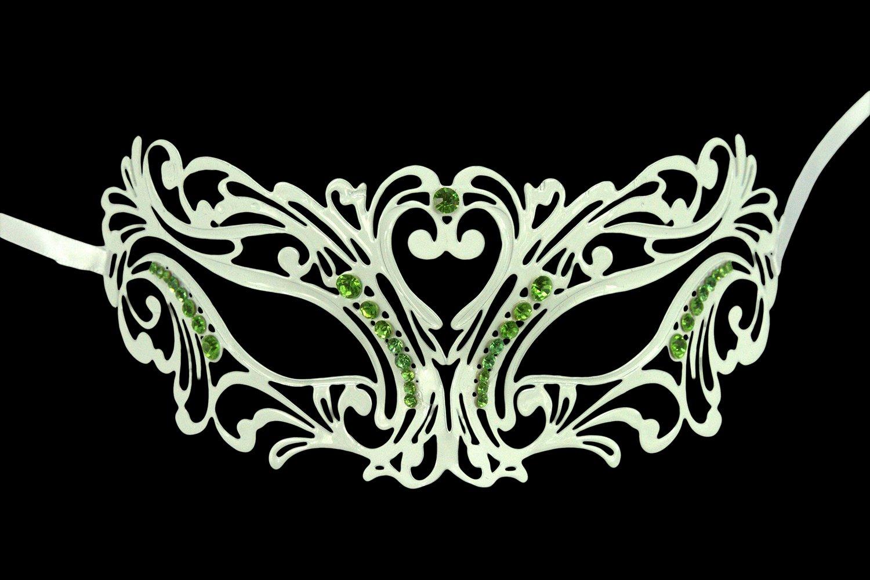 KAYSO INC BC002GNWH LOVE Laser Cut Masquerade Mask w/ Green Rhinestones