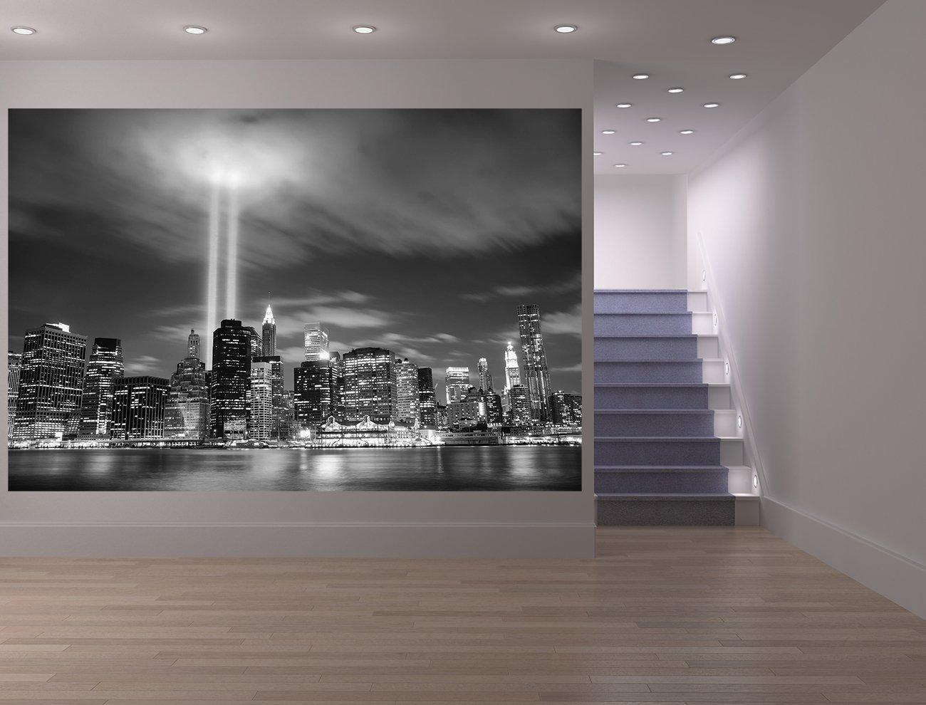 Bilderdepot24 Vlies Fototapete - New York City (Manhattan) bei Nacht - USA - schwarz Weiss - 300x200 cm - mit Kleister - Foto auf Tapeten - Wandtapete – Vliestapete