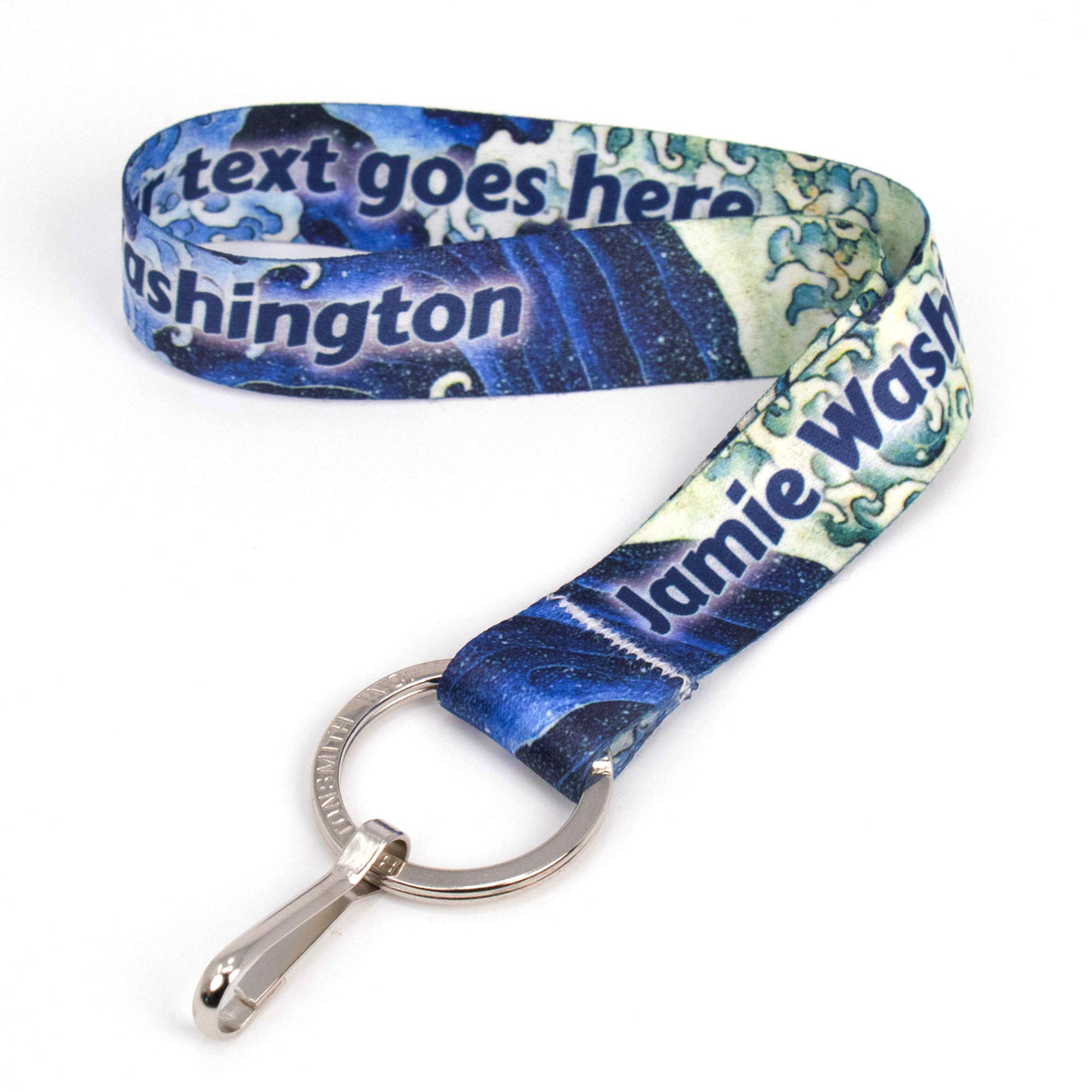 Buttonsmith Hokusai Waves Custom Wristlet with Flat Ring - Personalize with Your Name or Text - Super Soft Material - Made in USA