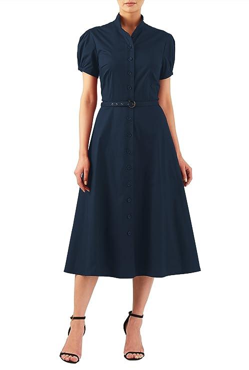 1940s Style Dresses and Clothing eShakti Womens Puff sleeve cotton poplin midi shirtdress $54.95 AT vintagedancer.com