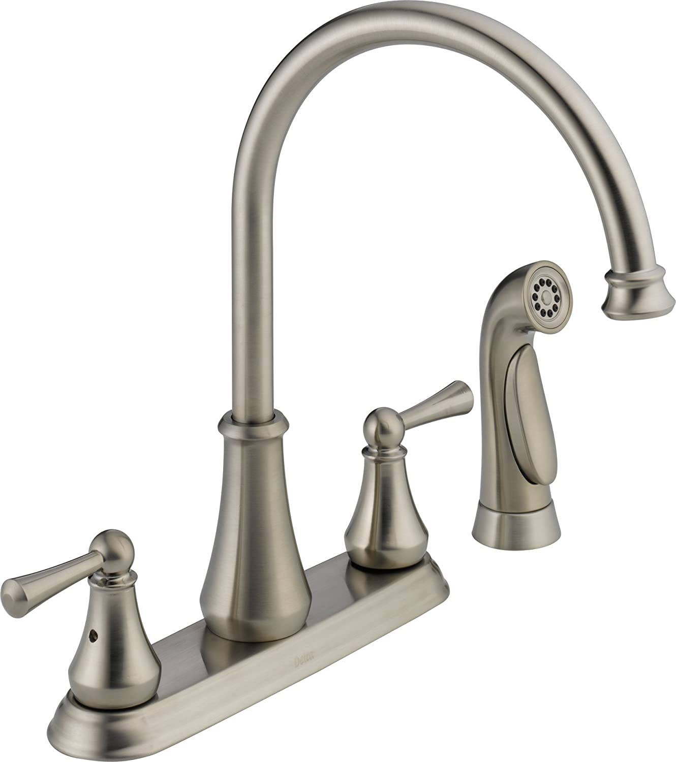 Delta LF SS Lewiston Two Handle Kitchen Faucet with Spray
